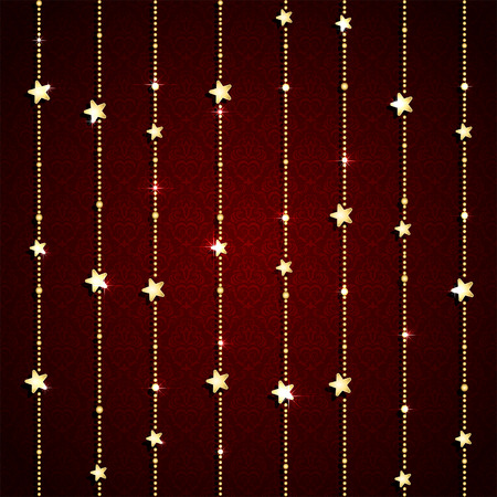 Christmas garland with shiny stars on red seamless background, illustration. Vector