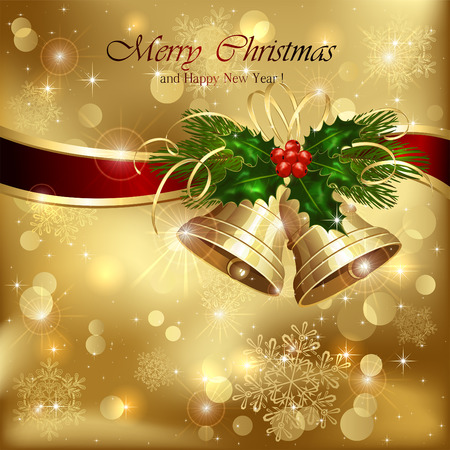 Background with golden Christmas bells, ribbon and holly berries, illustration. Vector