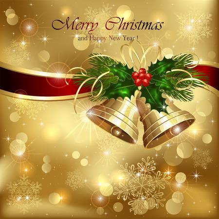 natale: Sfondo con campanelli d'oro di Natale, nastro e bacche di agrifoglio, illustrazione. Vettoriali
