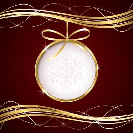 볼과 골든 리본, 일러스트와 함께 빨간 크리스마스 배경입니다. 스톡 콘텐츠 - 32276769