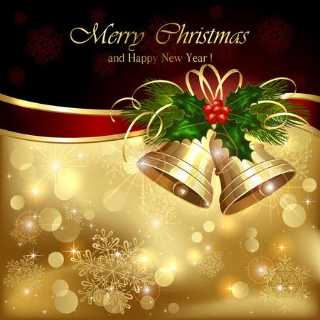 campanas navidad: Fondo con campanas de oro de Navidad y bayas de acebo, ilustraci�n.