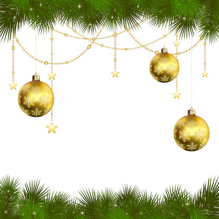 Background with branches of Christmas tree, stars and golden balls, illustration. Vector