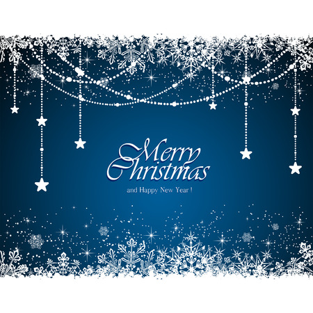 Christmas garland with snowflakes on blue background, illustration. 일러스트