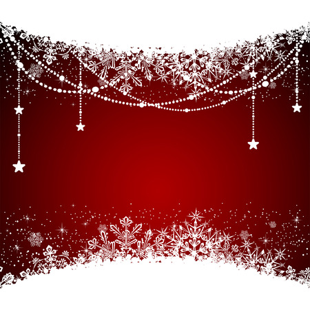 Christmas banner with snowflakes on red background, illustration.