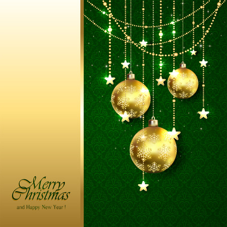 green wallpaper: Christmas background with golden balls and decorative elements on green wallpaper, illustration.