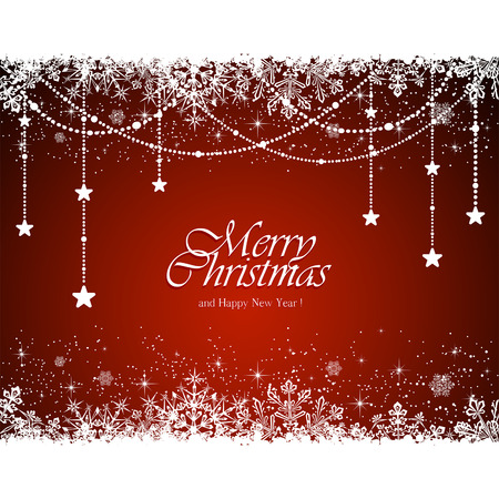christmas backdrop: Christmas decoration with snowflakes and stars on red background, illustration.