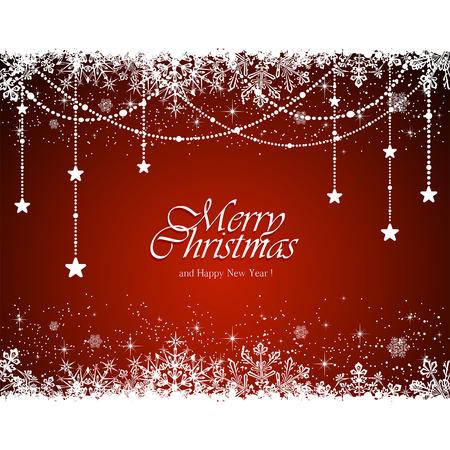 natal: Decora��o de Natal com flocos de neve e estrelas no fundo vermelho, ilustra��o.