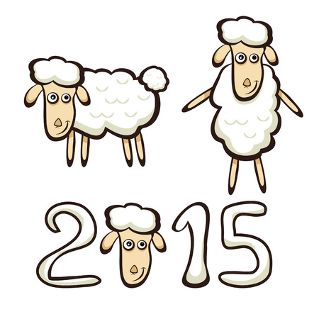 New Years set of sheep isolated on white background, illustration. Vector