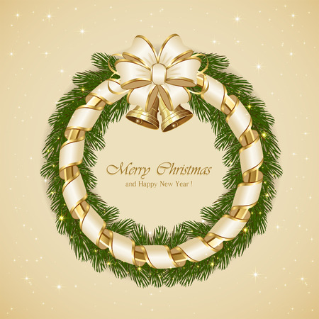 Christmas background with fir tree branches, bells and beige bow, illustration. Vector