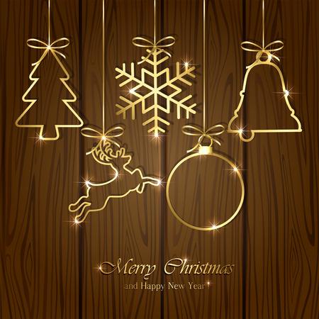 Set of golden Christmas elements on wooden background, illustration.