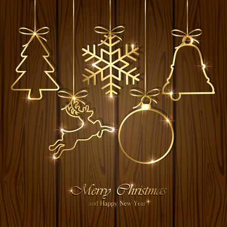 christmas gifts: Set of golden Christmas elements on wooden background, illustration.