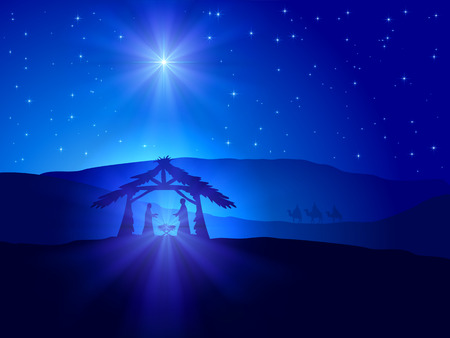 Christian Christmas scene with shining star on blue sky and birth of Jesus, illustration. Vettoriali