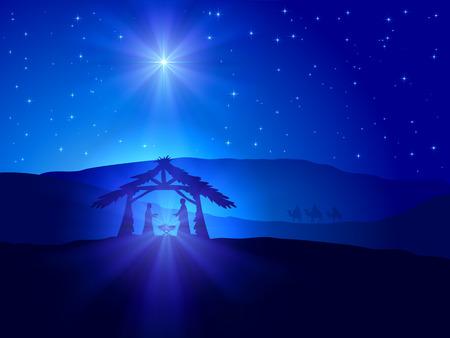 Escena cristiana de Navidad con estrella brillante en el cielo azul y el nacimiento de Jesús, la ilustración.