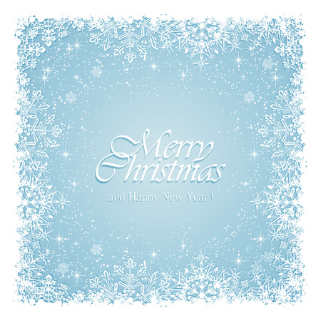 blue christmas background: Blue Christmas background with frame from snowflakes and stars, illustration.