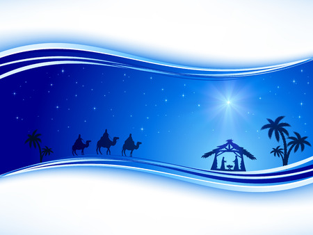 scenes: Abstract background, Christian Christmas scene with shining star on blue sky and birth of Jesus, illustration. Illustration