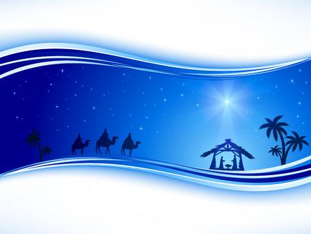 Résumé de fond, scène Christian Noël avec étoile brillante sur le ciel bleu et la naissance de Jésus, illustration.