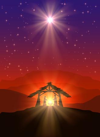 familia cristiana: Escena cristiana de la Navidad con el nacimiento de Jesús y la estrella brillante en el cielo, ilustración.