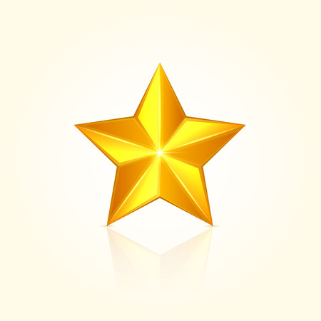 five objects: Gold shiny  star. Christmas decorative element, illustration. Illustration