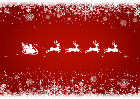 Red Christmas background with snowflakes and silhouette of Santa and deer, illustration. Vector