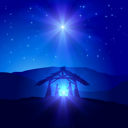 scenes: Christian Christmas scene with birth of Jesus and shining star on blue sky, illustration.