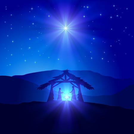familia cristiana: Escena cristiana de la Navidad con el nacimiento de Jesús y la estrella brillante en el cielo azul, ilustración.