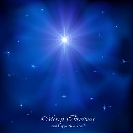 stern: Glänzende Weihnachtsstern im blauen Nachthimmel, Illustration.