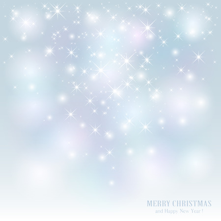 Christmas background with stars and blurry lights, illustration. Illustration