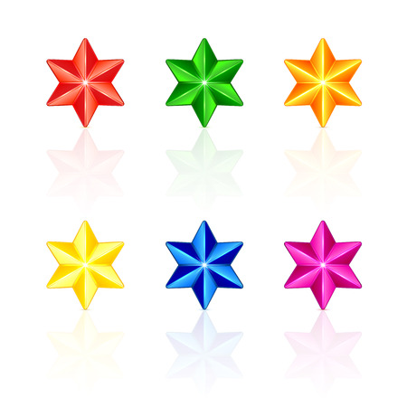 Set of multicolored Christmas stars isolated on white background, illustration. Vector