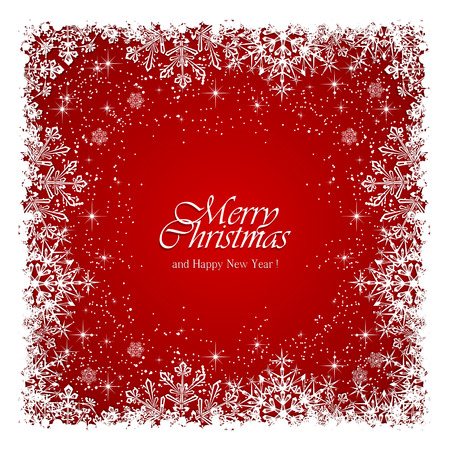 Red Christmas background with frame from snowflakes and stars, illustration.