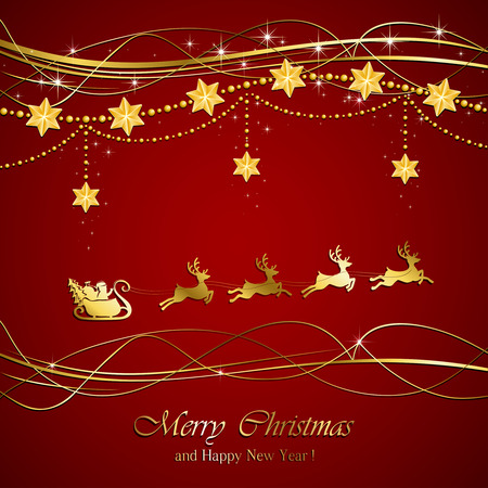 Red background with Christmas decoration and silhouette of Santa and deer, illustration. Vector