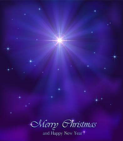 christmas star: Brillante stella di Natale nel cielo notturno, illustrazione.