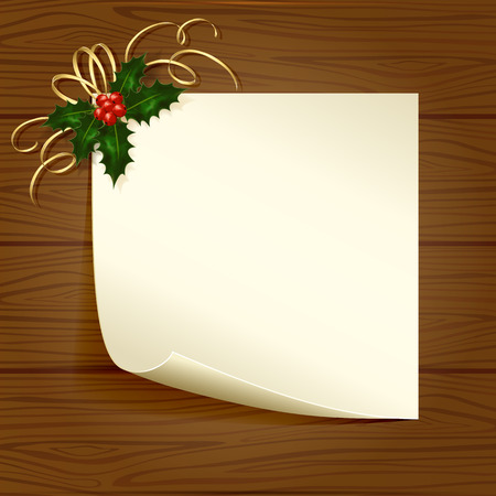 Christmas card with Holly berries on wooden background, illustration. Vector