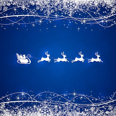 Blue Christmas background with silhouette of Santa and deer, illustration. Vector