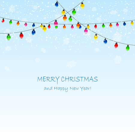 christmas element: Christmas background with electric garland and falling snow, illustration.