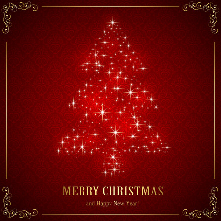 Red background with floral elements and Christmas tree from star, illustration. Vector