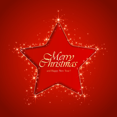 Red sparkle background with Christmas star, illustration.