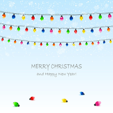 Christmas background with electric garland and snowflakes, illustration. Vector