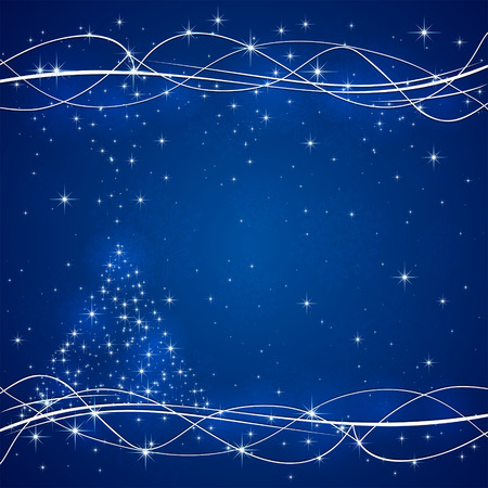 Blue background with Christmas tree from stars, illustration. Vector