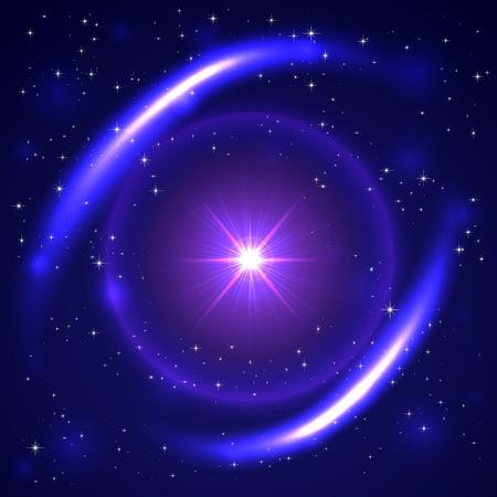 Explosie van de zon in de blauwe ruimte, illustratie. Stock Illustratie