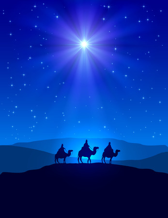 scenes: Christian Christmas night with shining star on blue sky and three wise men, illustration. Illustration