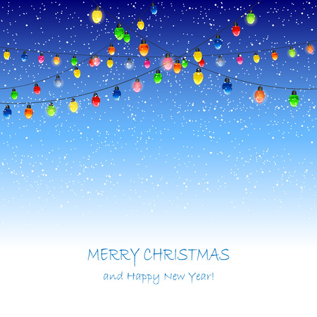 Christmas lights and falling snow on blue background, illustration. Vector