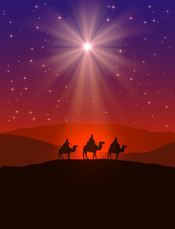 three animals: Christian Christmas background with shining star on night sky and three wise men, illustration.