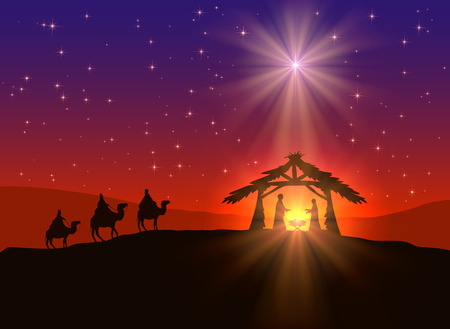 abstract background, christian christmas scene with shining star in the sky, birth of jesus, and three wise men on camels, illustration.