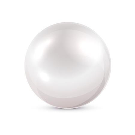 輝き真珠白い背景、イラストに分離しました。  イラスト・ベクター素材