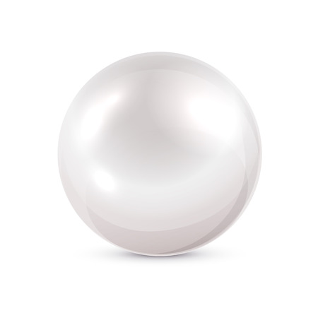 crystal button: Shine pearl isolated on white background, illustration. Illustration