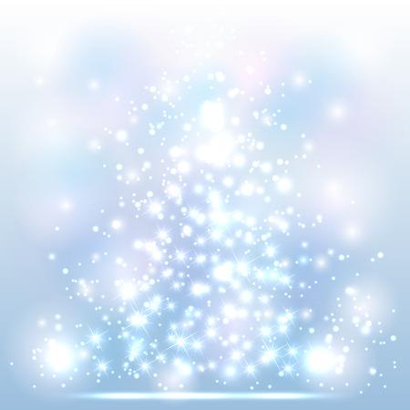 Schitteren Kerst achtergrond met glans sterren en wazig licht, illustratie.