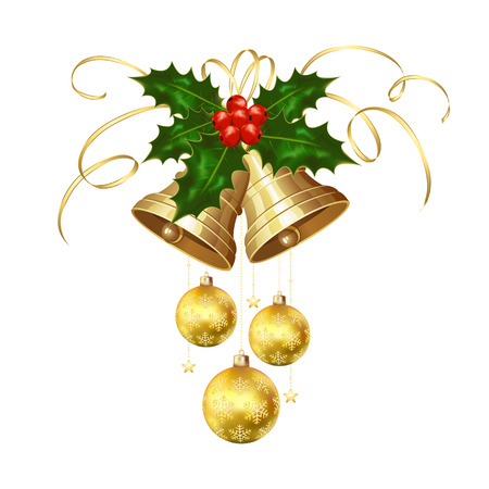 jingle bells: Golden Christmas bells with Holly berries, tinsel and baubles isolated on white background, illustration.