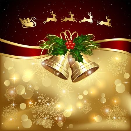 Achtergrond met gouden kerst klokken, hulst bessen en Santa, illustratie.