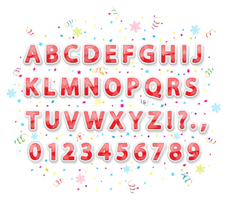 Set of Christmas stickers alphabet letters with snowflakes, tinsel and confetti on white background, illustration. Vector
