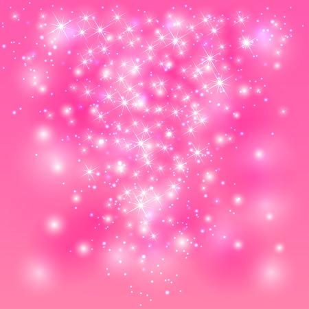輝く星とぼやけてライト、イラストとピンクの背景を輝き。